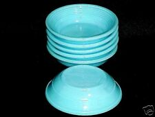 Akro Agate Child Tea Set Large Concentric Ring Brite Turquoise Bowl (s) /6 Avail