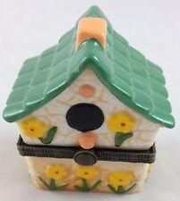Birdhouse Yellow Flowers Bird House Miniature Porcelain Mini Hinged Lid Pill Box