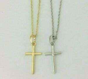 14k White / Gold Silver Mini Simple Sliding Jesus Cross Pendant O Chain Necklace