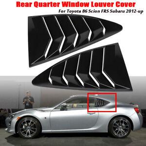 Gloss Black Rear Quarter Window Louver Cover For Toyota 86 Scion FRS Subaru