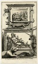 Antique Print-HIPPOPOTAMUS-CROCODILE-UNICORN-CORNUCOPIA-NARWHAL-Goeree-1690