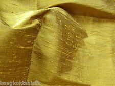 GOLD 100% PURE THAI SILK DUPIONI FABRIC BTY DRESS DRAPE BLOUSE SHIRT KIMONO