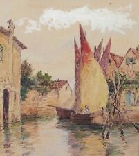 Antique French Watercolor & Ink Painting, Venice Italy, Rio della Palada, Signed