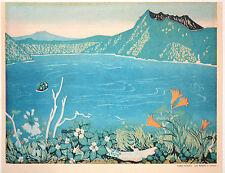 FINE JAPANESE WOODBLOCK PRINT ESTAMPE, FUMIO KITAOKA, LAKE MASHU IN SUMMER, 1961
