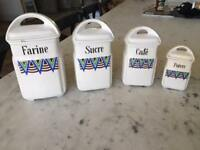 VINTAGE FRENCH ART DECO Lidded Ceramic Canisters,Set of 4