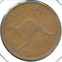 Australia, 1953(m) One Penny, 1d, Elizabeth II (Long 5 different 3) - Very Fine