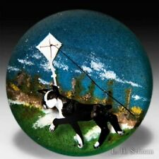 "Jim D'Onofrio 2005 ""Boston Bull Terrier and Kite"" compound glass paperweight"