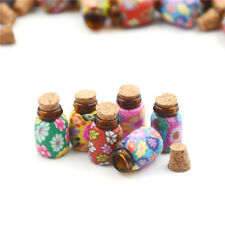 10X Mini Round Shaped Glass Bottles Containers Vials With Corks Home Car Decor I