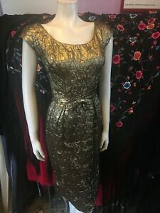 Vintage 1960s Gold Lamé Embossed Wiggle Party Cocktail Christmas Dress