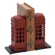 Woodland Imports Metal Bookends Art Retro Phone Booth British Book Ends Bookend
