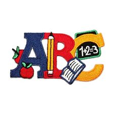 ID 1009 Children's ABC School Learning Education Themed Iron On Applique Patch
