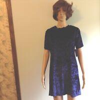 Xhilaration Women's Crushed Velvet T-Shirt Dress Juniors XS Navy