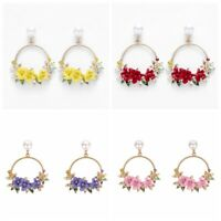 Fashion Asymmetric Earrings Jewelry Women Flower Dangle Drop Ear Hoops Gifts