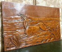 Art deco antelope decorative carving panel Antique french architectural salvage