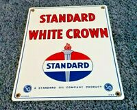 "STANDARD WHITE CROWN GASOLINE 15"" x 12"" PORCELAIN VINTAGE STYLE GAS & OIL SIGN!!"