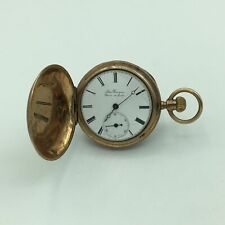 Antique Albin Bourquin 14K Rose Gold Sidewinder Hunter Ladies Pocket Watch 3s