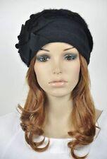 M32 NEW Wool Rabbit Fur Fashion Women's Winter Hat Beanie Cap Flowers ALL BLACK