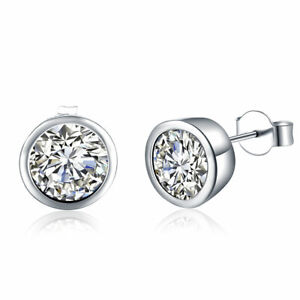 925 Sterling Silver Round Crystal Earrings Stud Butterfly Large UK Seller