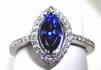 Certified Tanzanite Ring 14K White Gold Halo AAA Certified GIA Appraised $3,931