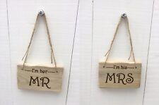Handmade Rustic Wooden Mr & Mrs Wedding Valentine's Anniversary Signs Plaques