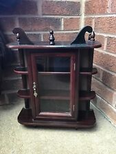 SMALL VINTAGE WOOD DISLAY CABINET FREESTANDING OR WALL HANGING
