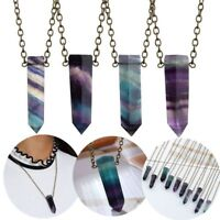 Natural Fluorite Pendant Reiki Chakra Healing Crystal Gemstone Necklace Fashion