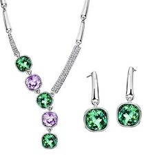 Made With Swarovski Crystal Stones Green Pink Necklace Earrings Jewellery Set