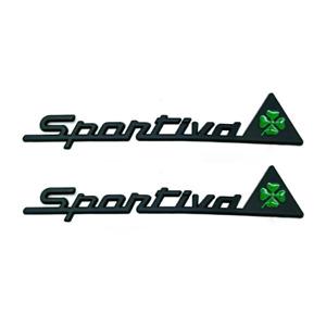 2pcs 3D Black Sportiva Quadrifoglio Car Fender Side Door Emblems Badges Stickers