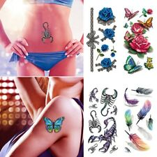Fake Temporary Tattoos Butterfly Rose Body Stickers Waterproof Arm Decals Decor