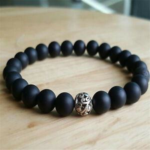8mm Natural Matte Black Onyx Handmade Mala Bracelet Wrist Pray Spirituality