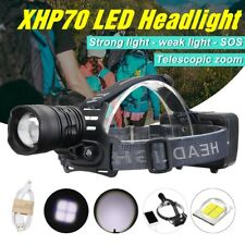 Rechargeable 90000LM XHP70 LED Headlight Headlamp Telescopic Zoomable Lamp Torch