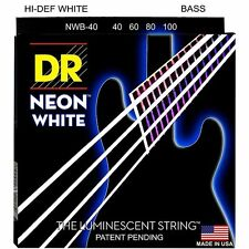 DR NWB-40 NEON HiDef WHITE COATED BASS STRINGS, LIGHT GAUGE 4's- 40-100