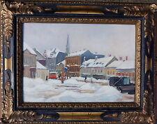 Franz Windhager, Hietzinger Hauptstrasse im Winter, Öl auf Holz, gerahmt