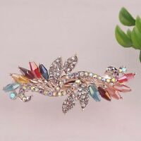 Women Gift 14K Gold Plated Austrian Crystal Leaf Hair Clip Jewelry In 4 Colors