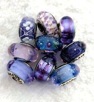 9 Pandora Silver 925 Murano Charm Blue Purple Kingdom Icy Glass Beads
