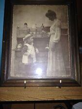 R. HENDRICKSON SEPIA PHOTO---MOTHER SCOLDING CHILD--IN FRAME----------------jb