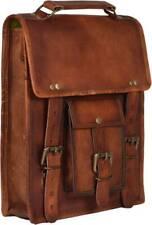Vintage Men Handbag Shoulder Bag Goat Leather Messenger Briefcase Laptop Brown