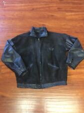 Vintage 1980's Adidas leather Run Dmc black trefoil bomber jacket sz XL