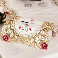 Hollow Rose Cutwork Fabric Folding Rectangle Tissue Box Cover Home Party Decor