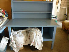 BLUE STUDENT'S DESK WITH ADJUSTABLE DESKTOP & HUTCH-PINE, MASONITE & CHIPBOARD