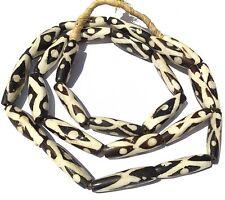African batik Kenya Bone Trade Beads Oval Zebra shape black and white