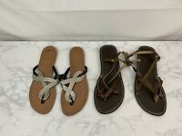 Old Navy Khols So Womens Sandals Size 8 Brown Lot of 2 Ankle Strap Thong Shoe O1