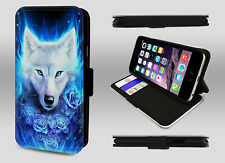 Wolf Howling Northern Lights Face Rose Art Wallet Leather Phone Case Flip Cover