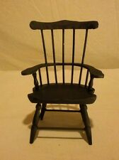 "Vtg Miniature High Back Chair Wood Windsor Style 9"" Tall Primitive Shabby"