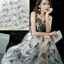 1M Embroidered Music Notes Butterfly Tulle Voile Fabric Wedding Dress Craft Chic
