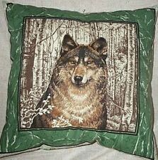 "Pillow Home Decor Wolf Wolves Green Brown Beige Size 17"" inch Last One"