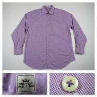 Peter Millar Mens Purple Checks Button Front Dress Long Sleeve Shirt New XL