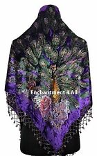 Stunning Handmade Beaded Triangular 100% Silk Velvet PEACOCK Scarf Wrap, Purple