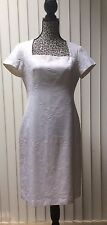 TALBOTS 8P Dress Ivory White Embossed Cotton Sheath Short Sleeve Made in USA