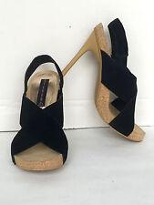 Steven by Steve Madden Black Suede Cross-Strap Hi Heel Sandals Size 7 M New